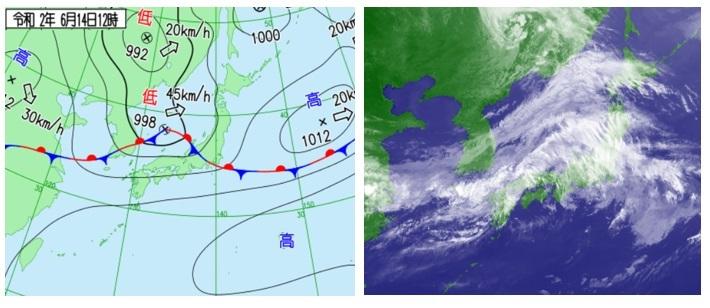 2020061412天気図と衛星