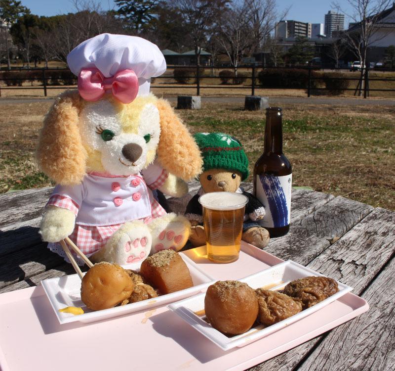 静岡おでん、日の出ラガーを CookieAnnと 駿府城公園 210206