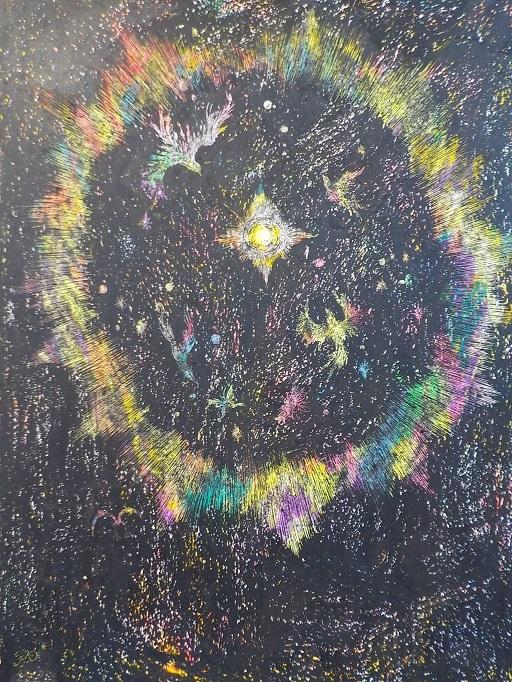 光 鳥 舞踊る 闇 宇宙 F6 クレヨン