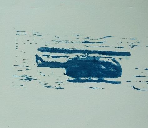 かまぼこ板 木版画 ヘリコプター 6歳