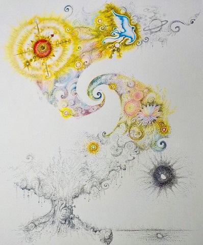 点描 青い鳥 太陽 生命の樹木 旅立ち