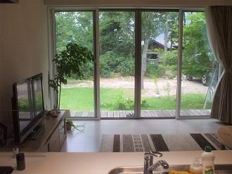 キッチンから外を見る