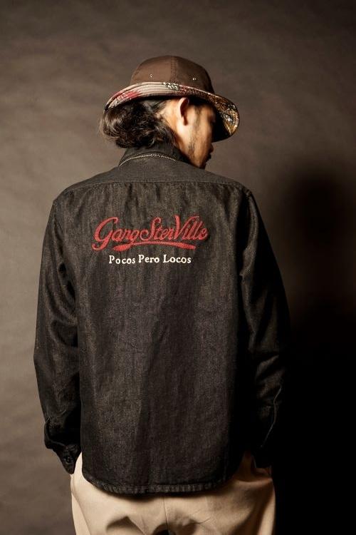 GANGSTERVILLE SIG-L/S DENIM SHIRTS JUNGLE PANTHER-SUN HAT