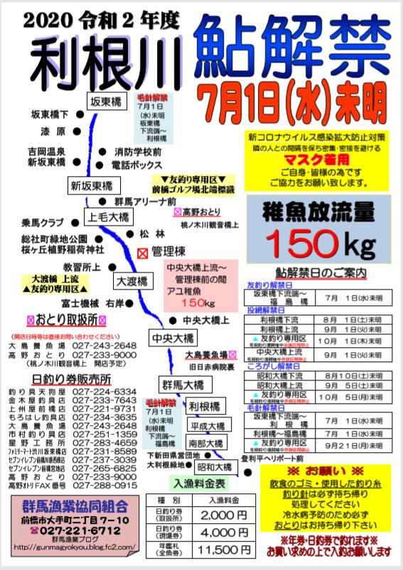 2020利根川鮎解禁