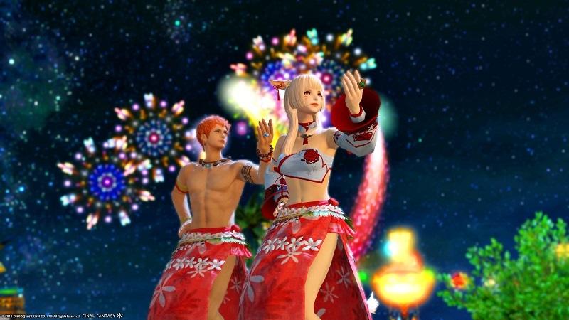 2020年度の紅蓮祭でフレイムダンスを踊る冒険者ペア