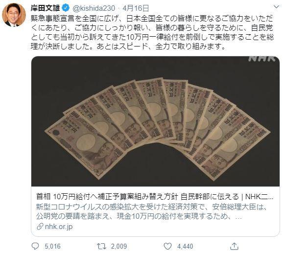 岸田文雄政調会長 新型コロナ 10万円