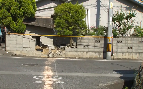福山市 ブロック塀 激突