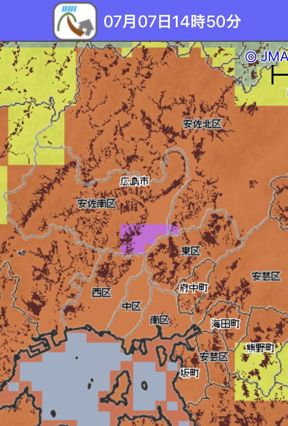 7月7日14時 気象庁土砂災害危険度分布図