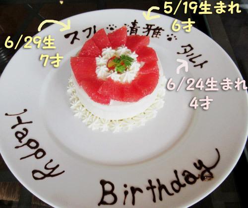 お誕生祝のサプライズケーキ