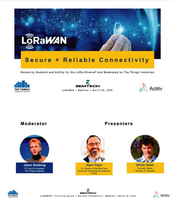 昨日(2020.3.25) 開催されましたLoRaWAN Security Webinarサマリー