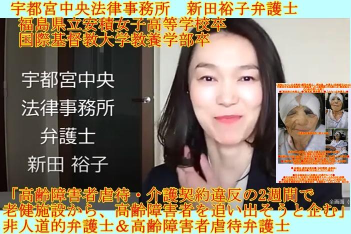 宇都宮中央法律事務所 新田裕子弁護士 高齢障害者虐待弁護士 非人道的弁護士