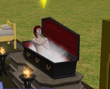 「シムズ2」ヴァンパイアが棺桶で寝るところですw