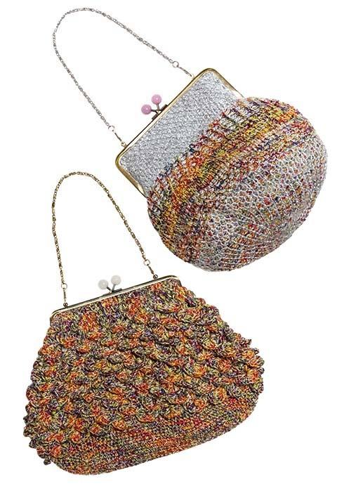 わに編みとアフガンのがま口バッグ