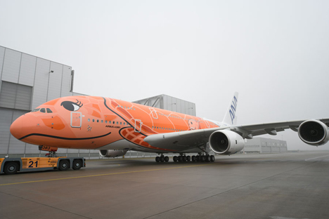 ANA、総2階建て超大型旅客機エアバスA380-3号機