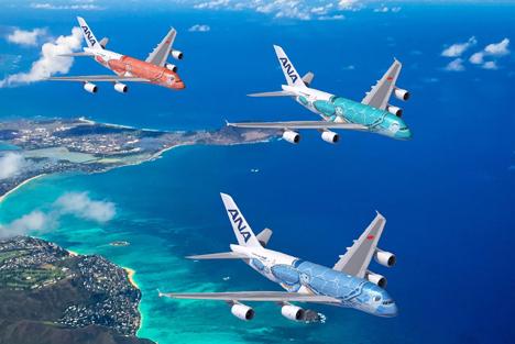 エアバスA380型機は2階建てで520席の超大型旅客機。