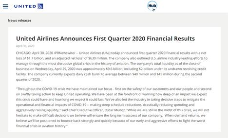 ユナイテッド航空は、2020年度第1四半期の決算を発表、17億ドルの純損失!