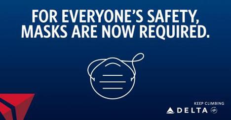 デルタ航空は、搭乗者のフェイスカバー着用を義務化!