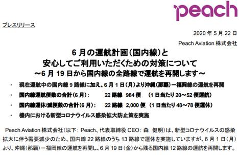 ピーチは、6月19日から国内全22路線を再開すると発表!