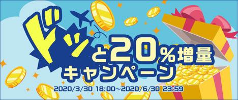 ポイントサイト ハピタスは、ドッと20%増量キャンペーンを開催!