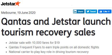 カンタスとジェットスターは、観光回復セールを開催、3倍ポイントも!