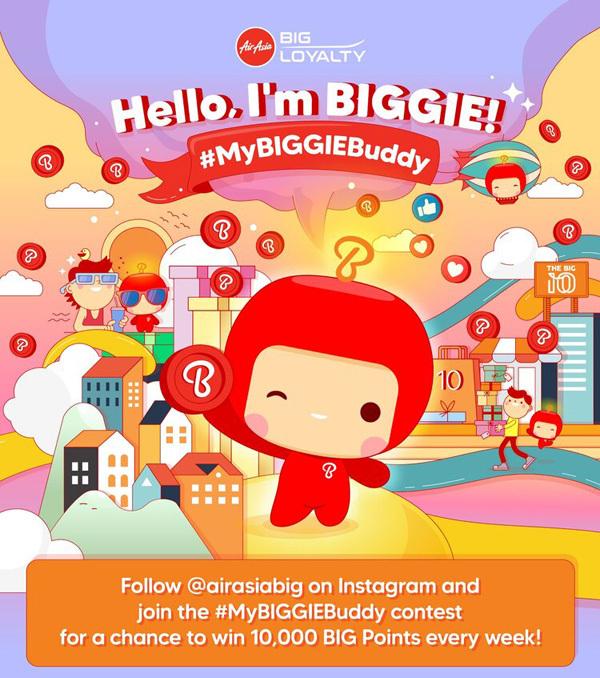 エアアジアは、新キャラクター「BIGGIE」導入で、10,000BIGポイントがプレゼントされるキャンペーンを開催。