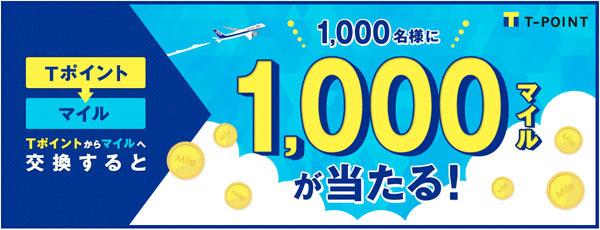 ANAは、抽選で1,000マイルがプレゼントされる、「ポイント交換キャンペーン」を開催!