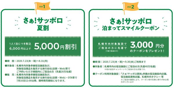 夏休みの旅行は札幌がお得、札幌市は宿泊で使える5,000円割引クーポンを配布!