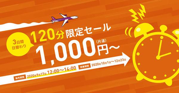 ピーチは、国内線が片道1,000円~の日替わりセールを開催、2日目は8路線が対象!
