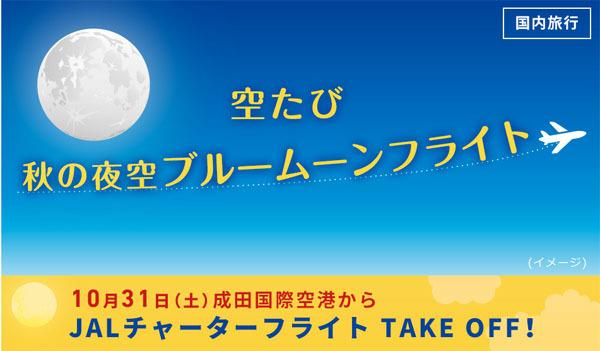 JALは、成田空港を発着する遊覧フライト第二弾「空たび 秋の夜空 ブルームーンフライト」を開催!