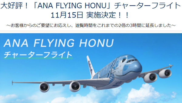 ANAは、エアバスA380型機「フライングホヌ」のチャーターフライト 第3弾を開催、飛行時間は2倍の3時間に!