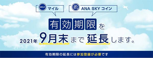 ANAは、マイル・ANA SKY コインの有効期限延長を発表、延長には参加登録が必要!