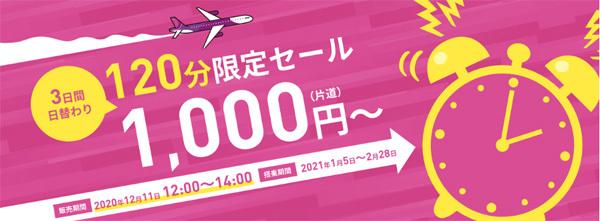 ピーチは、国内線が片道1,000円~の120分限定セールを開催!