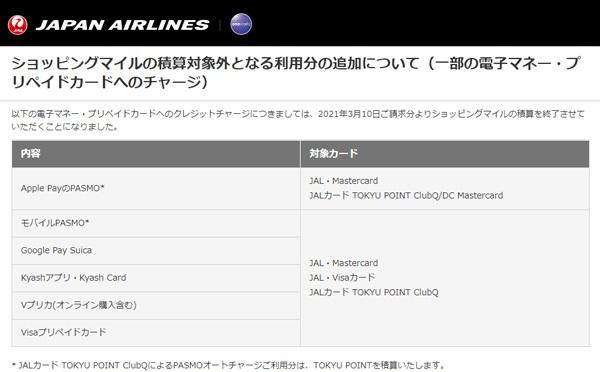 JALは、電子マネー・プリペイドカードへのチャージでのショッピングマイル積算終了を発表!