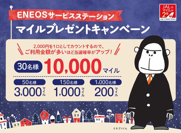 JALカードは、マイルがプレゼントされる、ENEOSサービスステーション「マイルプレゼントキャンペーン」を開催!