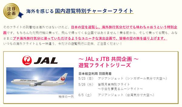 JALは、JTBと共同で、海外を感じる 国内遊覧チャーターフライトを開催!