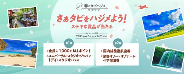 JALは、もれなく1,000e JALポイントやUSJ 1デイ・スタジオ・パスが当たるキャンペーンを開催!