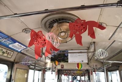 扇風機の風で揺れる金魚 弘南鉄道