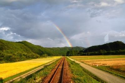 虹に向かって走っている
