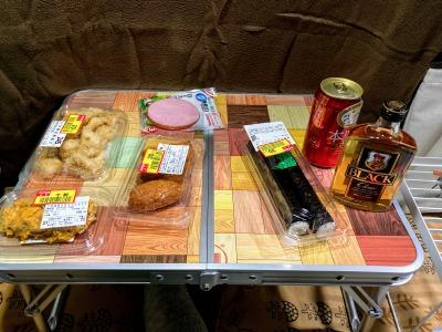 車中泊の夕食