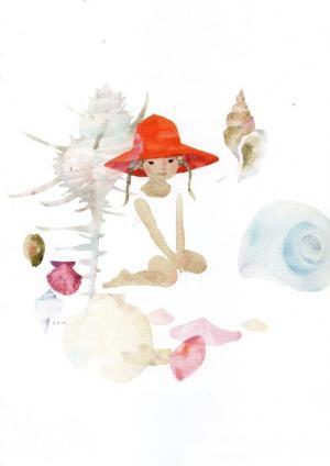貝がらと赤い帽子の少女