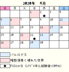 ロドス暗影カレンダー2020年4月