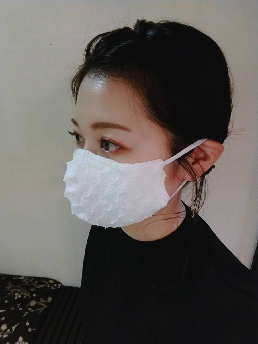 白無地 立体アジャスタ付マスク 横