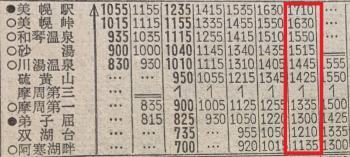 阿寒湖バス時刻表