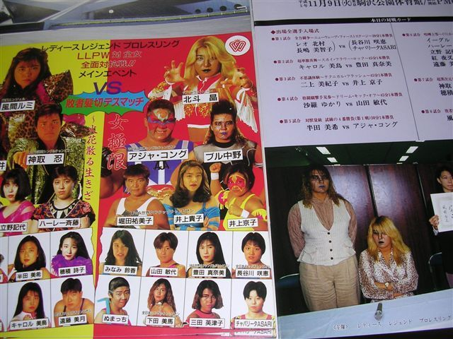 LLPW女子プロレス対全女 全面対抗戦パンフレット 1993年11月9日駒沢公園体育館