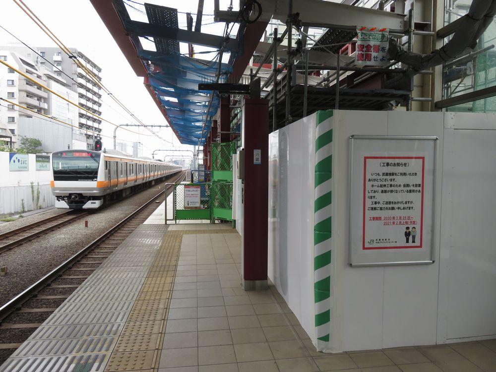 武蔵境駅のホーム延伸工事