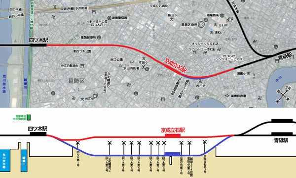京成押上線四ツ木~青砥間の地図と高架化前後比較縦断図