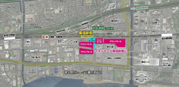京葉線新習志野~海浜幕張間と幕張新駅の位置