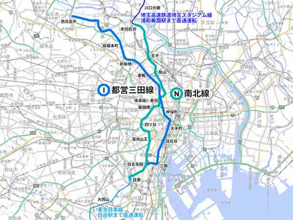 東京メトロ南北線・都営三田線の路線位置