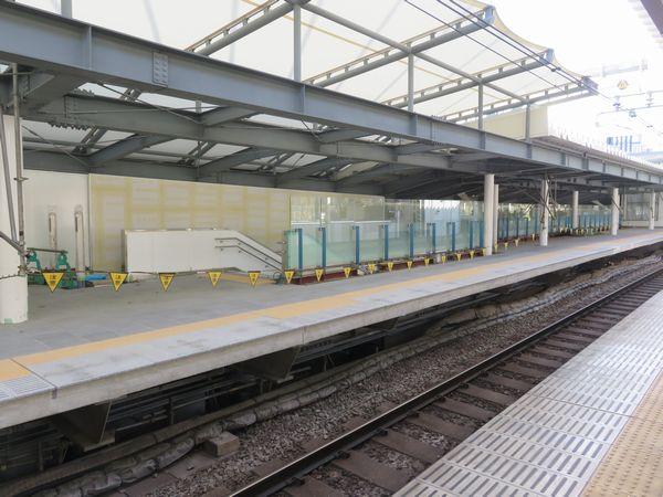 今年1月時点での千駄ヶ谷駅新ホーム