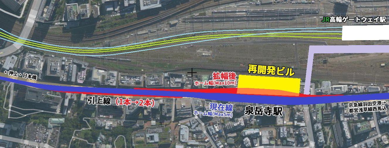高輪ゲートウェイ駅・泉岳寺駅の位置と再開発予定の区域